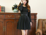 2014秋装新款复古经典赫本小黑裙秋季长袖黑色连衣裙 现货