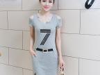 针织裙夏季新款韩版休闲时尚V领连衣裙短袖女职业装OL包臀一步裙