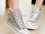 2014春款高级pu+亮片高帮鞋韩版平跟厚底休闲鞋帆布鞋一件批发