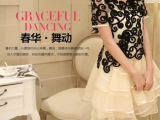 2014春款韩版女装大牌刺绣欧根纱连衣裙夏蕾丝短袖两件套蓬蓬裙