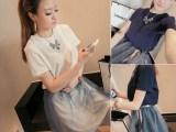 2014夏季新款女韩版两穿套装纯色长款T恤+网纱短裙两件套 51