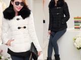 新款秋冬装 韩版大毛领修身短外套加厚短款羽绒服女yrf