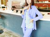 2014秋季新款韩版时尚纯棉上衣三件套 纯色薄款孕妇上衣裤子套装