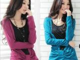 2013秋装新款 女装韩版V领假二件显瘦妩绑带长袖T恤 批发