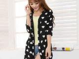 韩版新款九分袖中长款雪纺衫开衫  薄外套 女装夏秋桃心防晒衣