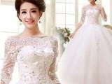 时尚中袖一字肩唯美婚纱礼服蓬裙批发特价嵌钻婚纱