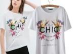 女装批发2014春夏新款欧美zara女装对称大花朵字母印花T恤上衣