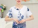 中老年棉麻印花V领T恤大码妈妈装夏季中年人透气短袖上衣