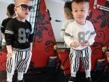 2015春装新款韩版儿童小童男女网眼数字卫衣棒球服童套装一件代发