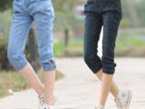 厂家爆款直销 2014夏季新款韩版低腰牛仔裤7分裤大码宽松