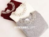 韩国东大门名媛女式圆领钉珠镶钻套头长袖打底衫毛衣女外套女冬