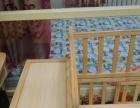 九五成新无漆实木婴儿床