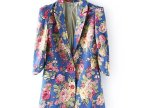2014年新款秋时尚款欧美风女上衣显气质带印花图案中长款西服女装