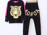 春秋新款中大童纯棉套装 韩版男童女童虎头卫衣长裤运动两件套装
