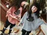 童装2015春夏装 韩版潮女童套装纯棉蝙蝠衫+打底裤套装厂家批发