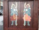 实木仿古大门老榆木庭院门实木彩绘门神进户门