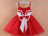 外贸夏季大红蝴蝶结吊带儿童礼服裙