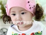 韩国秋冬保暖女宝宝花朵护耳帽婴儿童卡通假发套头帽 毛线帽子
