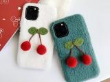 适用苹果xr/max可爱樱桃羊羔绒布ip11手机壳新款