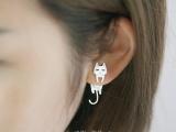 供应纯银耳钉女不对称个性耳环气质简约韩国防过敏猫鱼耳饰品