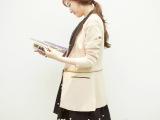 韩国代购正品 春装秋季两穿V领女修身韩版长西装长外套秋季外套