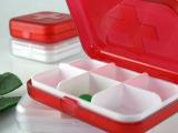 热卖可印Logo红十字六格便携随身塑料小药盒 全新进口料制作