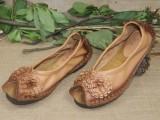 原创个性复古真皮女鞋新款猫头鹰手工缝制单鞋里外全真皮淘宝热销
