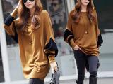 2015秋冬装新款韩版胖妹妹宽松蝙蝠衫上衣大码打底衫长袖女士t恤