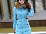 实拍中长款2014冬装棉衣棉服新款韩版修身奢华貉子毛领外套女棉衣