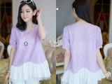 2014韩版新款孕妇装宽松大码短袖拼接孕妇蕾丝衫雪纺衫批发