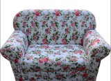 宜家小户型白底红花蓝花小沙发椅三人沙发2