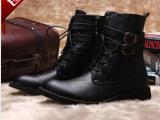 新款男短靴韩版潮流男靴子时尚潮流马丁靴男尖头英伦工装皮靴批发