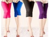 百搭七分裤优质款糖果色 冰丝七分裤 打底裤批发