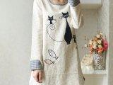 日式森女风秋季新款女装卡通小猫贴布宽松棉麻衬衫长袖t恤外套