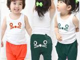2014韩版 纯棉背心+纯棉毛圈短裤 小猫咪套装 夏季热卖童套装