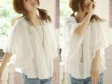 2014夏装新款韩版宽松大码蝙蝠袖雪纺娃娃衫 蝙蝠衫 白色雪纺衫