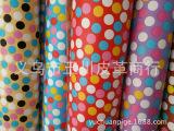 批发七彩印花圆点PVC皮料 高固人造革 包袋皮革 人造革