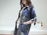 2014  春装新款牛仔外套 女 韩版宽松破洞中长款牛仔衣