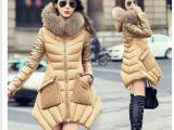 新款2014欧洲站冬装新款奢华羽绒服中长款韩版修身潮女装外套