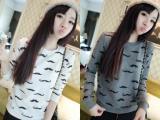 2014秋季新款韩版外套学生可爱小胡子卫衣女春秋套头学院风上衣