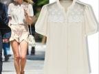 欧洲站新款女宽松雪纺衫蕾丝上衣欧美街头时尚短圆领衫