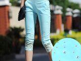 韩版显瘦大码糖果色点钻七分裤铅笔裤 薄蕾丝外穿7分打底裤女夏