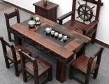 上海老船木茶桌椅中式阳台喝茶艺桌客厅实木茶几仿古功夫泡茶台
