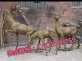 铜雕招财鹿母子鹿广场大型竹筒动物摆件庭院梅花鹿摆件