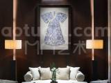 凹凸艺术创意坊 新中式陶瓷碎片拼接汉服 客厅家居装饰画