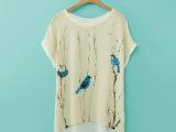 厂家直销 2014新款女装批发欧美风 小鸟雪纺印花拼接棉短袖T恤