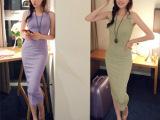 韩国代购夏季女显瘦纯棉打底背心长裙修身吊带包臀连衣裙子韩版