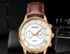 瑞士男表正品 复古设计玫瑰金五针日历防水真皮手表