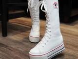 2014新款欧美秋季单靴子厚底松糕女鞋高筒靴休闲帆布后拉链女靴