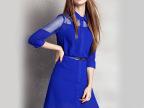 欧美大牌时尚女装2015夏季新款欧根纱拼接雪纺衬衫式连衣裙50453